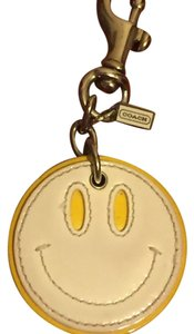 Coach Leather Smiley Face Keychain