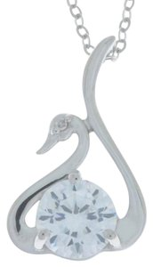 Other White Sapphire & Diamond Swan Pendant .925 Sterling Silver