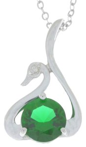 Other Emerald & Diamond Swan Pendant .925 Sterling Silver