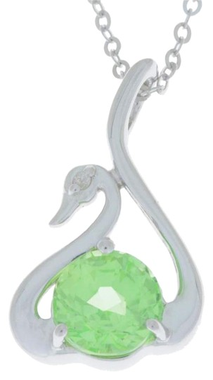 Preload https://img-static.tradesy.com/item/18203110/green-sapphire-and-diamond-swan-pendant-925-sterling-silver-necklace-0-1-540-540.jpg