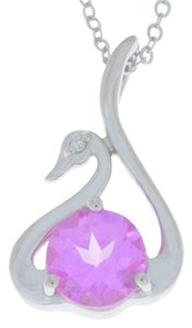 Other Pink Sapphire & Diamond Swan Pendant .925 Sterling Silver