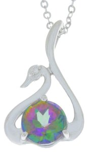 Other Natural Mystic Topaz & Diamond Swan Pendant .925 Sterling Silver