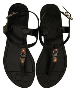 Coach Gladiator Flip Flops Thong Black Sandals