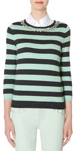 The Limited Embellished Striped Stripes Gray Sweater