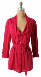 Odille Anthropologie Button Up Defined Waist Top Pink