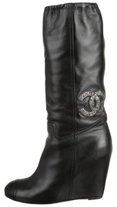 Chanel Embellished Interlocking Cc Black Boots