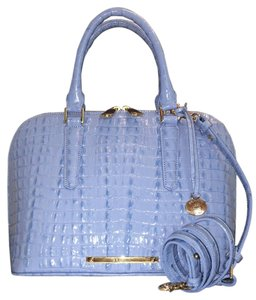 Brahmin All Leather Zipper Closure Satchel in SKY LA SCALA, LEATHER, CLASSY, CLASSIC STYLE!! NWT!