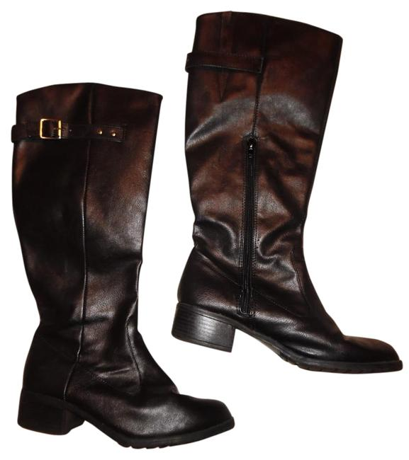 Item - Black Western Riding Mid-calf Faux Leather Boots/Booties Size US 8 Regular (M, B)
