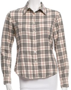 Burberry Nova Check Plaid Monogram Longsleeve Cotton Button Down Shirt Beige, Gold, Black