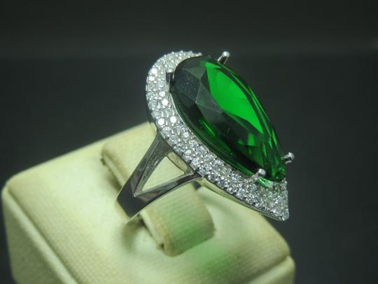 Turkish Jeweler Turkish Handmade Hurrem Sultan 925 Sterling Silver Emerald Ladies' Ring with Pave' CZ'S, Sz 7.75