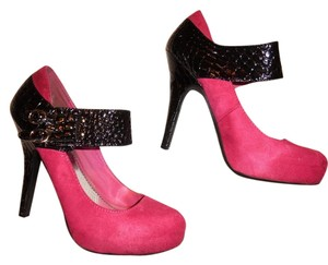 Bamboo Pumps Heels Black, Hot Pink Platforms