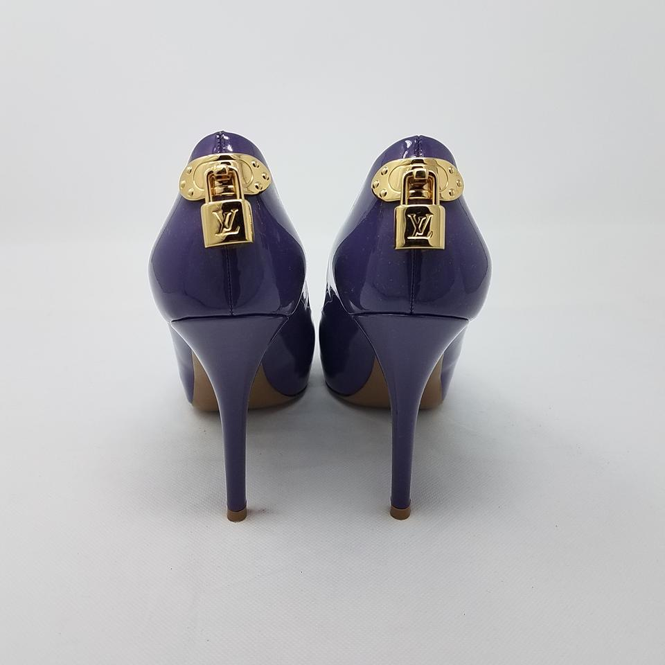 59c5255f3b42 Louis Vuitton Purple Patent Leather Oh Really Peep-toe Pumps. Size  EU 38  ...