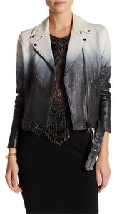 Haute Hippie Fringe Leather Blue Ombre Leather Jacket