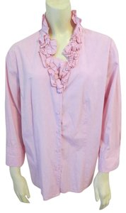 Talbots Cotton Ruffle Top Pink