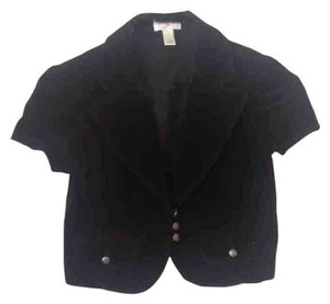 Ann Taylor LOFT Cropped Jacket Corduroy Button Down Shirt Black