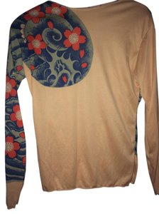 Japanese Pop Longsleeve Funky Cool T Shirt Nude with Tattoo like design