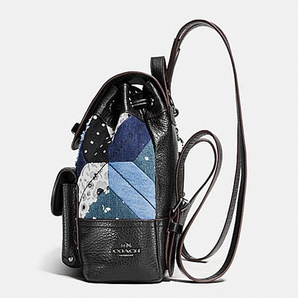 Coach Mini Turnlock Rucksack In Canyon Quilted #37743 Black/Denim ... : black quilted rucksack - Adamdwight.com