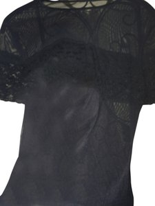 Other Sheer Nylon Sexy Short Sleeved Shirt Blouse Top Black