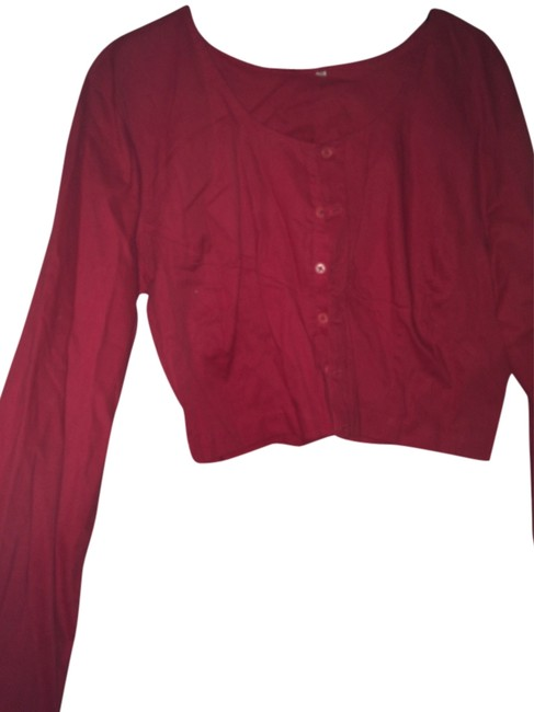 Other Cotton Crop Button Down Shirt Red