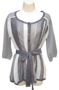 J. Jill Mohair Embellished Belted 3/4 Sleeve Cardigan