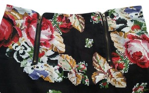 Cotton Candy Needelepoint Mini Skirt Black Multi Color