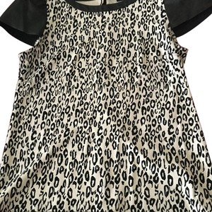 Ella Moss Babydoll Vinyl Leopard Top Black and white