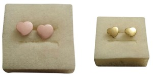 Two Paris of Lovely Little Heart Earrings (Baby pink and gold)