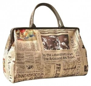 Unique Boho Eclectic Unusual Paper Huge Purse Overnight Carry All Carry On Suitcase Satchel Purse Large New Newspaper Print White black Travel Bag