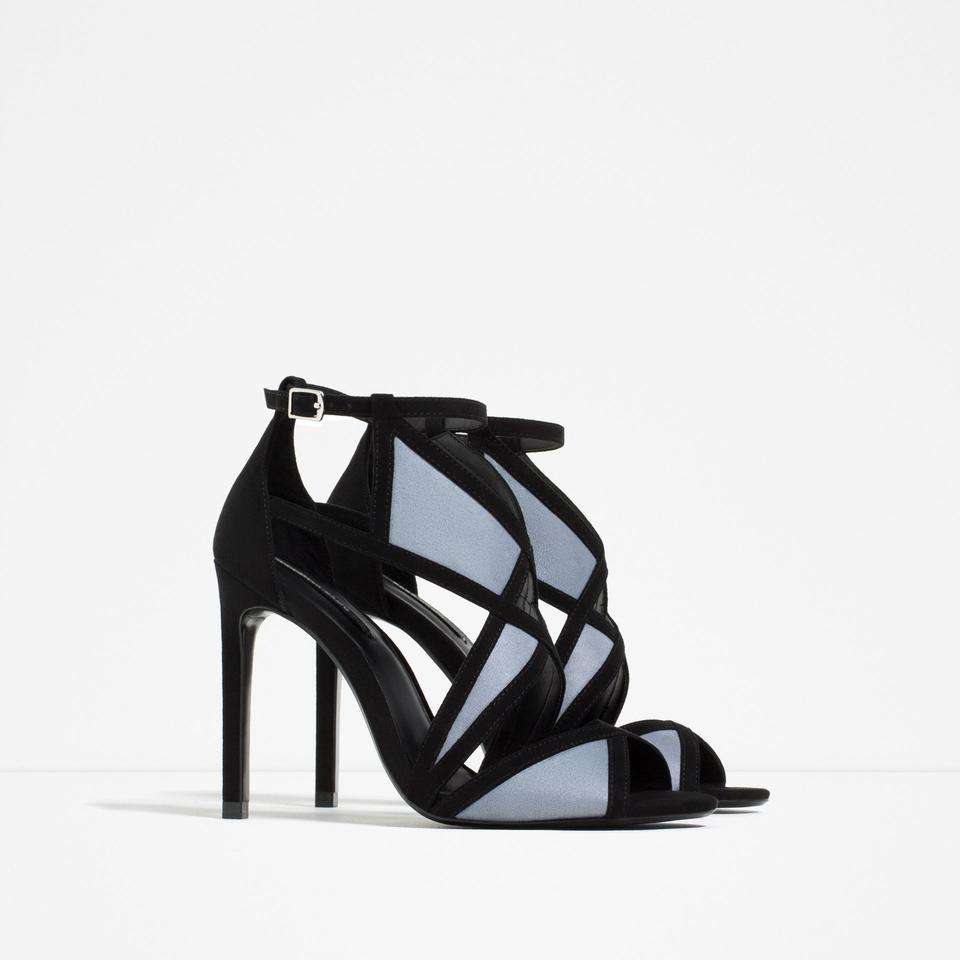 80ea982e186 Zara Black Blue New Tags Wraparound Strappy Heels Box Sandals Size US 6.5  Regular (M