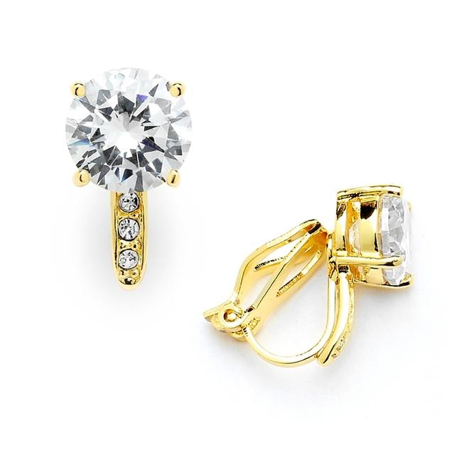 Item - Gold 2.0 Ct. Cz Solitaire Clip-on Stud (8mm) with 14k Plated Pave Accents 4558ec-g Earrings