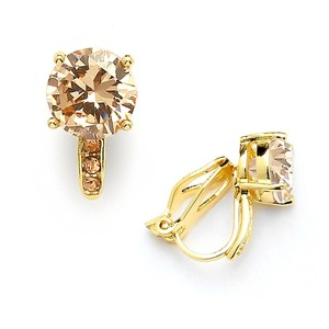 Mariell 2.0 Ct. Champagne Blush Solitaire Cz Clip-on Stud Earrings - 14k Gold Plated 4558ec-ch-g