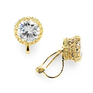 Mariell Gold Crown Setting Clip-on 2.0 Carat Round Solitaire Cubic Zirconia Stud Earrings 4559ec-g