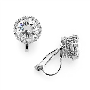Mariell Crown Setting Clip-on 2.0 Ct Round Cubic Zirconia Platinum Plated Stud Earrings 4559ec-s