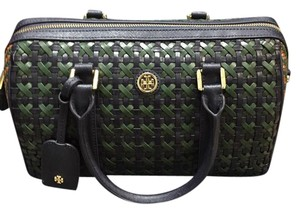 Tory Burch Crossbody Leather Blue Satchel in Navy and Green