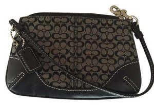 Coach Black Wristlet in Black/ gray