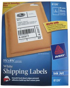 Avery Avery 8126 White Inkjet Shipping Labels, 5-1/2