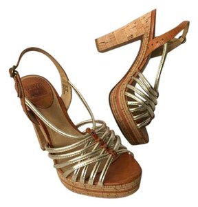 Frye Heels Sandals Strappy Leather Gold Platforms
