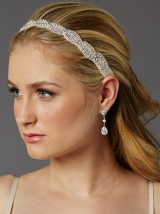 Mariell Braided Bridal Headband With Silver Seed Beads And Crystal Rhinestones 4458hb-s