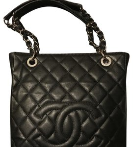 Chanel Leather Pst Tote in Black