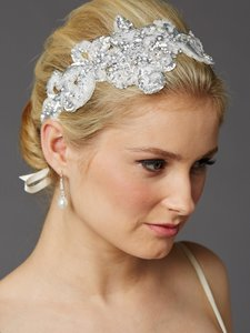 Mariell Hand-made Glistening Silver Sequin Lace Bridal Headband 4453hb-s-i