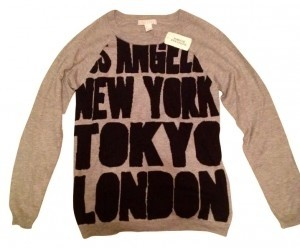 Forever 21 Sweater Heather Grey Grey Los Angeles New York Tokyo London Longsleeve Jacket