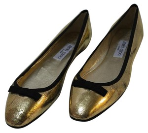 Jimmy Choo Black Euro 40 Us 10 Gold Flats