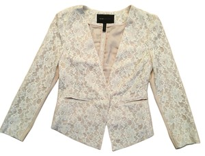 BCBGMAXAZRIA White lace with light pink underlay Blazer