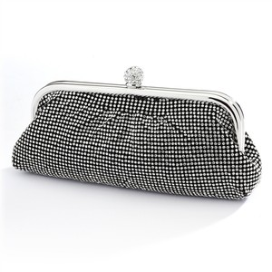 Mariell Black Double-sided Crystal Clutch Evening Bag with Satin 4400eb-cr-je Bridal Handbag