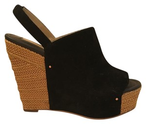 Rosegold Shoes Wedge Plaltform Suede Black Wedges