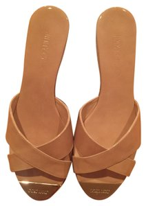 Jimmy Choo Patent Leather Slides NUDE Wedges