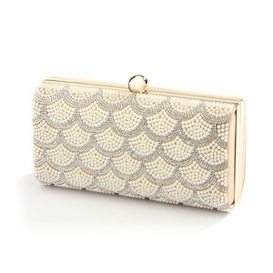 Mariell Gold Scalloped Crystal and Ivory Pearl Evening Bag Or Clutch 4391eb-i-g Bridal Handbag