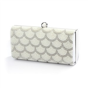 Mariell Scalloped Crystal And White Pearl Bridal Evening Bag Or Wedding Clutch 4391eb-w-s