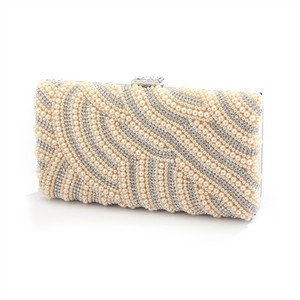 Mariell Gold Honey Beige Pearl Evening Bag with Bezel Crystals 4398eb-ho-s Bridal Handbag