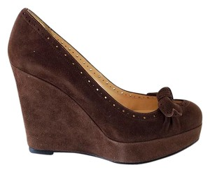 Christian Louboutin Suede Platform 37.5 Brown Wedges